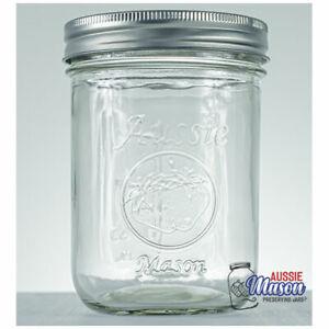 12 x 500ml Aussie Mason Wide Mouth LOGO Pints Preserving Canning Wedding Jars R