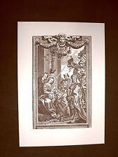 Litografia Natale L'adorazione dei Re Magi Breviarum Romanum del 1728 Ristampa