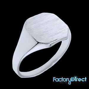Solid White Gold Cut Corners Engravable Men's Signet Ring