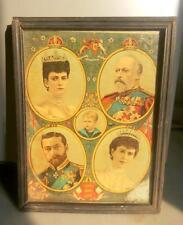Antique Old Rare Collectible King & Queen English Royal Family Litho Big Print