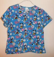 Disney Mickey Mouse Oh Boy! Large Blue Medical Scrub Uniform Top