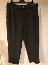 Ladies Marks And Spencer Dark Olive Smart Trousers Size 12 Short