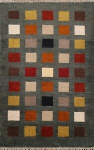 Checkered Gabbeh Contemporary Oriental Area Rug Wool Hand-Knotted Carpet 2x4 ft