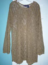 Vintage LizSport Liz Claiborne Golden Beige Open Weave Tunic Sweater - Medium