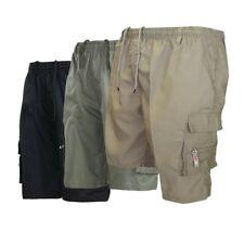 Men Cargo Elastic Waist Shorts Pockets Cotton Combat Casual Work Shorts Pants