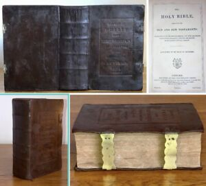 1851 Antique The Gift Of Phillip Lord Wharton Fine Leather Holy Bible Oxford Uni