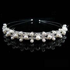 FLOWER GIRL/BRIDAL GIRLS Headband hair Crystal Pearl Tiara Hairband - Uk Seller
