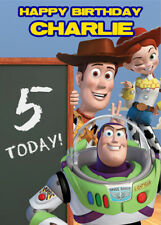 Toy Story Chalkboard Personalised Birthday Card Add your own name & age
