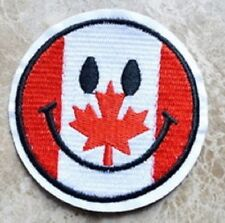 """(G49) CANADIAN FLAG SMILEY FACE 2.75"""" iron on patch applique Maple Leaf"""