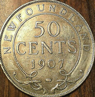 1907 NEWFOUNDLAND SILVER 50 CENTS FIFTY CENTS COIN - Excellent example!
