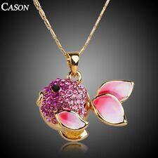 Fashion Pink Goldfish Austrian Crystal Pendant Women 18k Gold Plated Necklace
