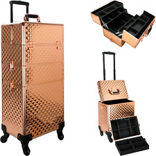 Rolling Cosmetic Makeup Train Case 4 Removable Wheels with Dividers in Rose Gold
