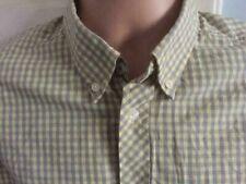 BEN SHERMAN SHIRT medium yellow & grey button down check long sleeve mod