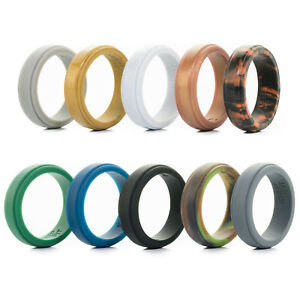 Silicone Wedding Ring Men Women Step Edge Rubber Engagement Band Flexible Ring