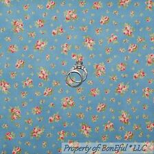 BonEful Fabric Cotton Quilt VTG Blue Pink Rose Flower Calico Girl Cottage SCRAP