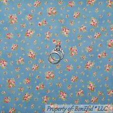 BonEful Fabric Cotton Quilt Blue Pink Rose Flower Calico VTG Girl Cottage SCRAP