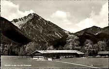 Bauer in der Au mit Kampen s/w Postkarte 1967 Bauernhaus Berge im Hintergrund