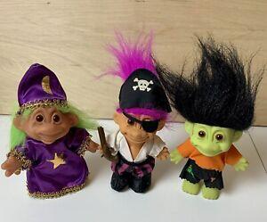 Vintage Halloween Lot Of 2 Russ 1 Dam Troll Dolls Warlock Frankenstein & Pirate