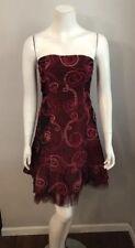 Jessica McClintock Burgundy Ribbon Embroidered Strapless Taffeta Dress Sz 6