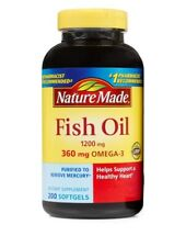 Nature Made FISH OIL 1200 Mg (360 Mg OMEGA-3 EPA DHA ) 200 Count Liquid Softgels