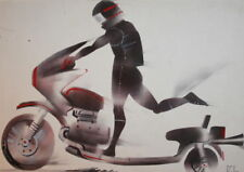 1983 Motorcycle biker portrait drawing signed