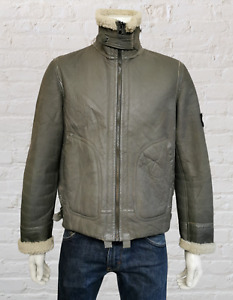 Stone Island 2007 100% Leather Sheepskin Jacket with Badged sleeve in Grey