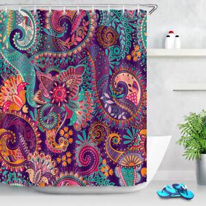 Fashion Paisley Pattern Waterproof Fabric Shower Curtain Set Bathroom Free Hooks