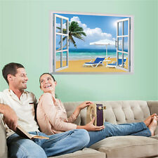 3D Window Beach Sea Sofa Home Decor Removable Wall Stickers Decals Decorations