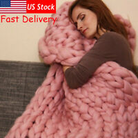 Winter Warm Chunky Knit Thick Blanket Hand Yarn Merino Bulky Throw Knit Sofa US