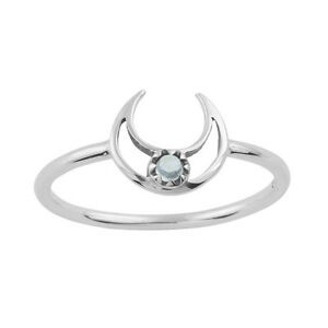 925 Sterling Silver Moonstone Gemstone Crescent Moon Band Ring. Boho Jewellery