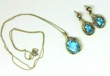 Stunning 10K yellow gold & Blue Topaz Necklace  & Dangle earrings, NICE GIFT ?