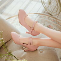 vintage mary jane womens ankle strap buckle med heel shoes ladies casual pumps