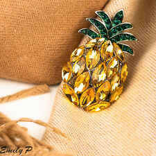 Pineapple Brooch Yellow and Green Crystal Pin Badge