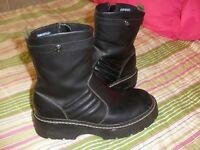 SKECHERS Black Leather Motorcycle Ankle Zip Side Boots Women's Sz 7.5 M