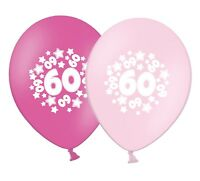 "number 60 - stars -  12""  Pink Assortment Latex Balloons pack of 20"