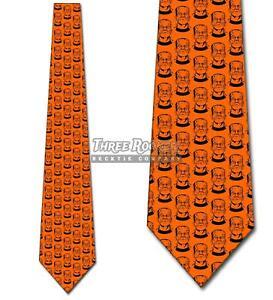 Frankenstein Repeat Orange Ties Halloween Tie Men's Holiday Ties