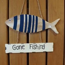 Rustic Nautical Blue White Seaside Wooden Gone Fishing Plaque Beach Fish Sign