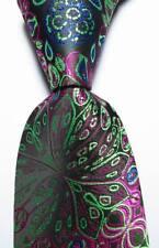 New Classic Floral Black Green Red Blue JACQUARD WOVEN Silk Men's Tie Necktie