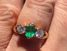 Ladies Natural Diamond and Emerald in 14k Yellow Gold size 7.75
