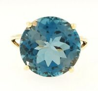 9Carat Yellow Gold 14mm Blue Topaz Solitaire Ring (Size N 1/2)