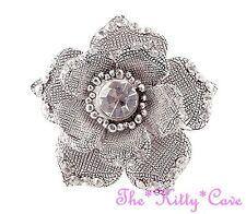 Vintage Chic Silver Textured Rose Flower Floral Bloom Ring w/ Swarovski Crystals