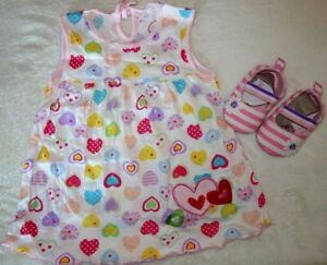 Baby Girl Cotton Dress and Shoes Set 0-3 Months-New