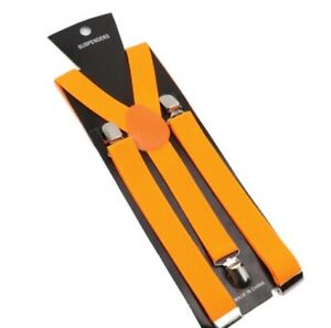 Elastic Leather Suspenders Braces Men Women Black Blue Brown Adjustable