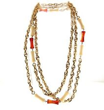 """Vintage Signed Sarah Coventry Lucite Necklace Long Chain 62"""""""