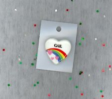 Rainbow & Hearts Fashion Pin Brooch Personalized GAIL - Gift - Stocking Stuffer