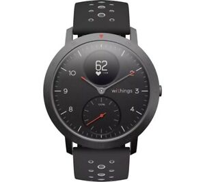 Withings Steel HR Sport 40mm Multisport Smartwatch Black with Black Silicone Str
