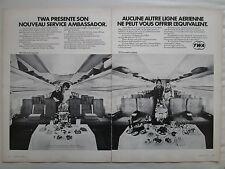 1/1972 PUB TWA AIRLINE BOEING 707 AIRLINER SERVICE AMBASSADOR ORIGINAL FRENCH AD