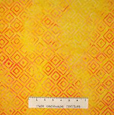 Tonga Batik Fabric - Orange Squares on Yellow B4170 - Timeless Treasures YARD