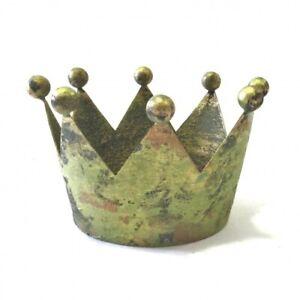 Krone Deko Metall Tisch Gold Grün Antik Shabby bell arte Weihnachten Herbst
