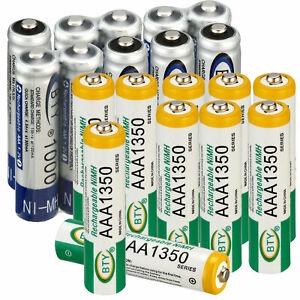Lot BTY AAA/AA,1000/1350/2500/3000mAh Rechargeable Battery 2A/3A Ni-MH Batteries
